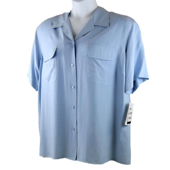 06857719 Notations Tops | Silk 3x Button Blouse Light Blue Nwt | Poshmark